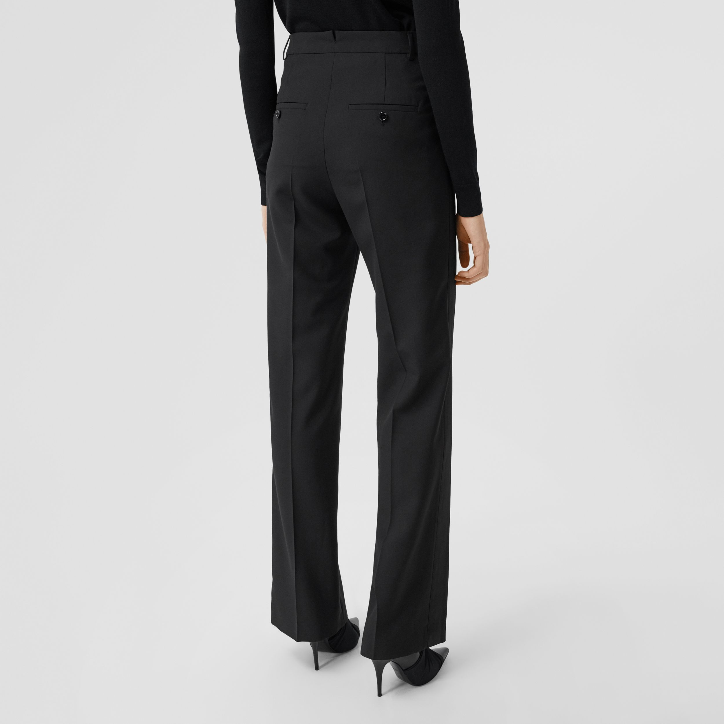 Silk Satin Trim Tumbled Wool Tailored Trousers in Black - Women | Burberry - 3