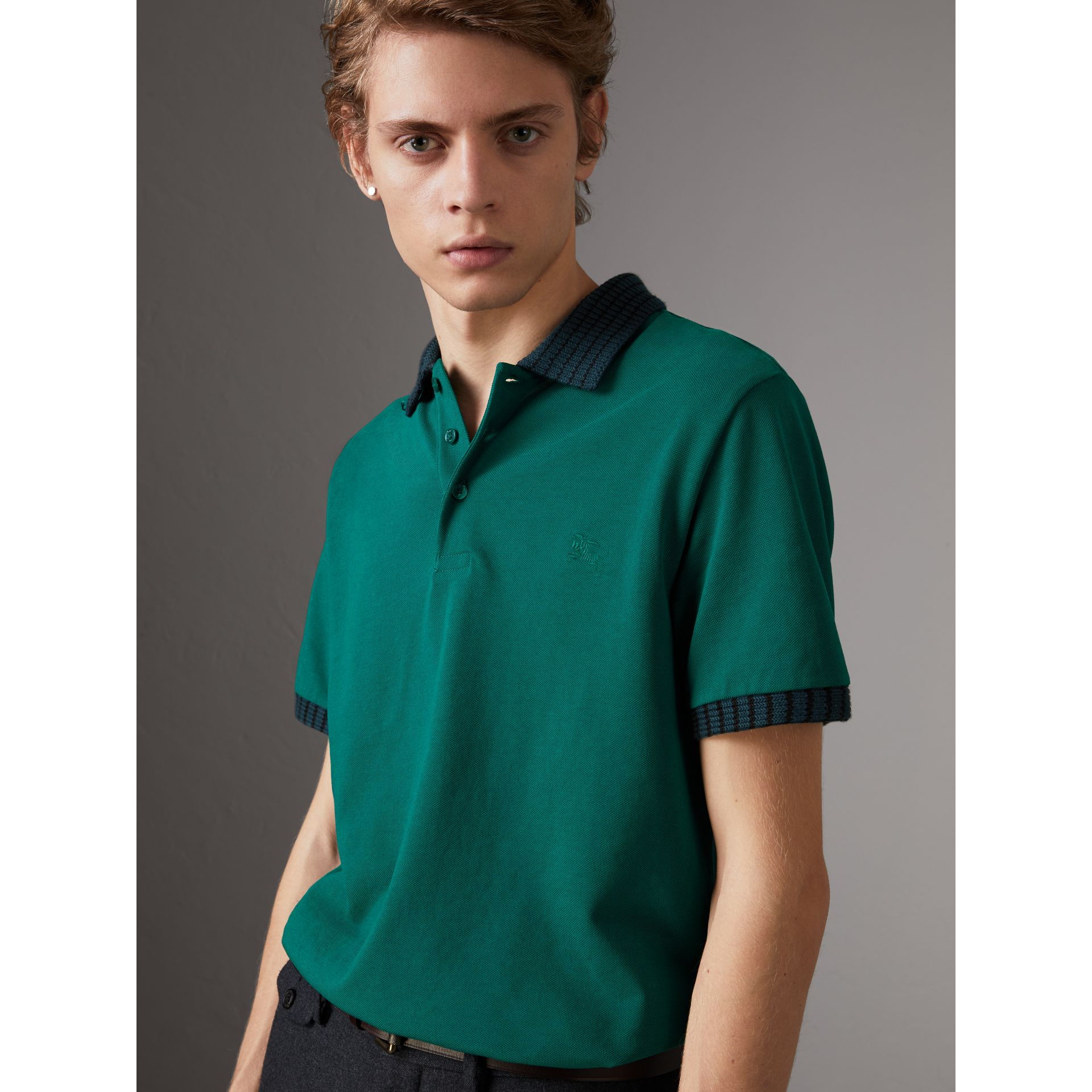 Knitted Detail Cotton Piqué Polo Shirt in Deep Viridian Green - Men | Burberry - gallery image 0