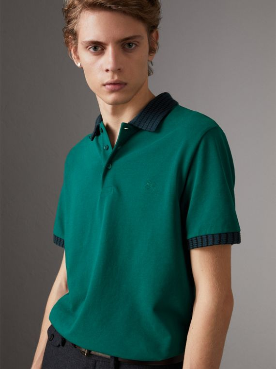 Knitted Detail Cotton Piqué Polo Shirt in Deep Viridian Green
