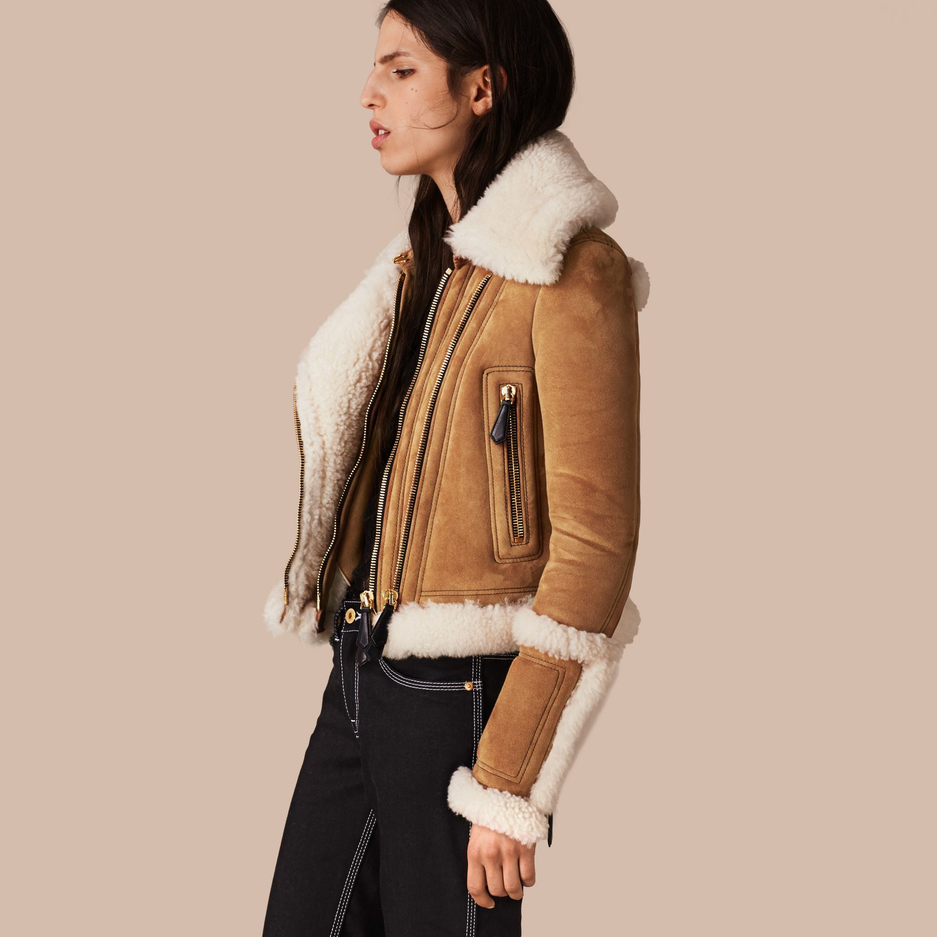 Tan/white Shearling Biker Jacket - gallery image 1