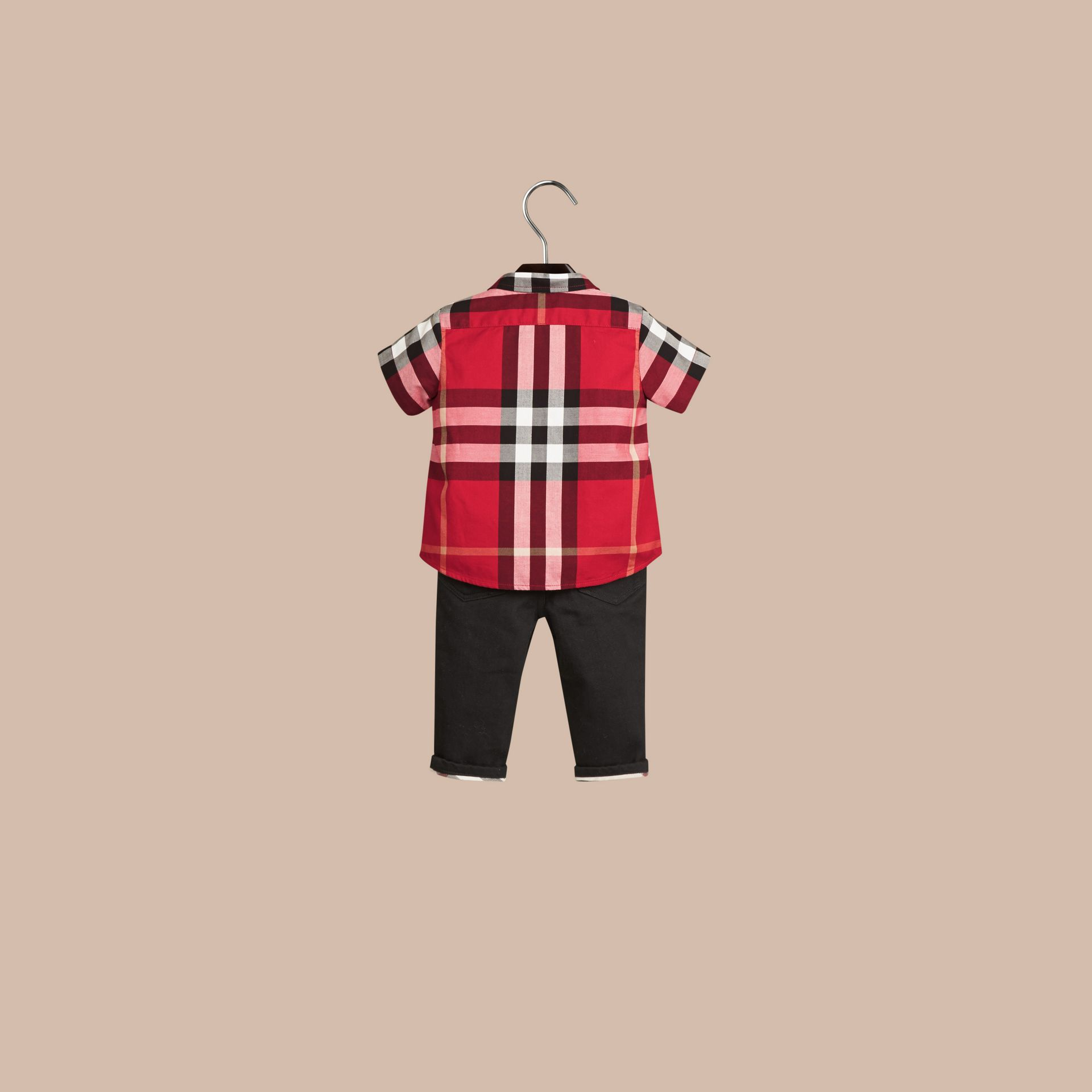 Parade red Check Cotton Twill Shirt Parade Red - gallery image 3