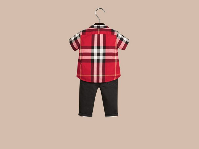 Check Cotton Twill Shirt in Parade Red - cell image 2