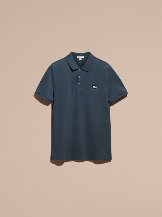 Bright steel blue Fitted Mercerised Cotton-Piqué Polo Shirt Bright Steel Blue - cell image 3