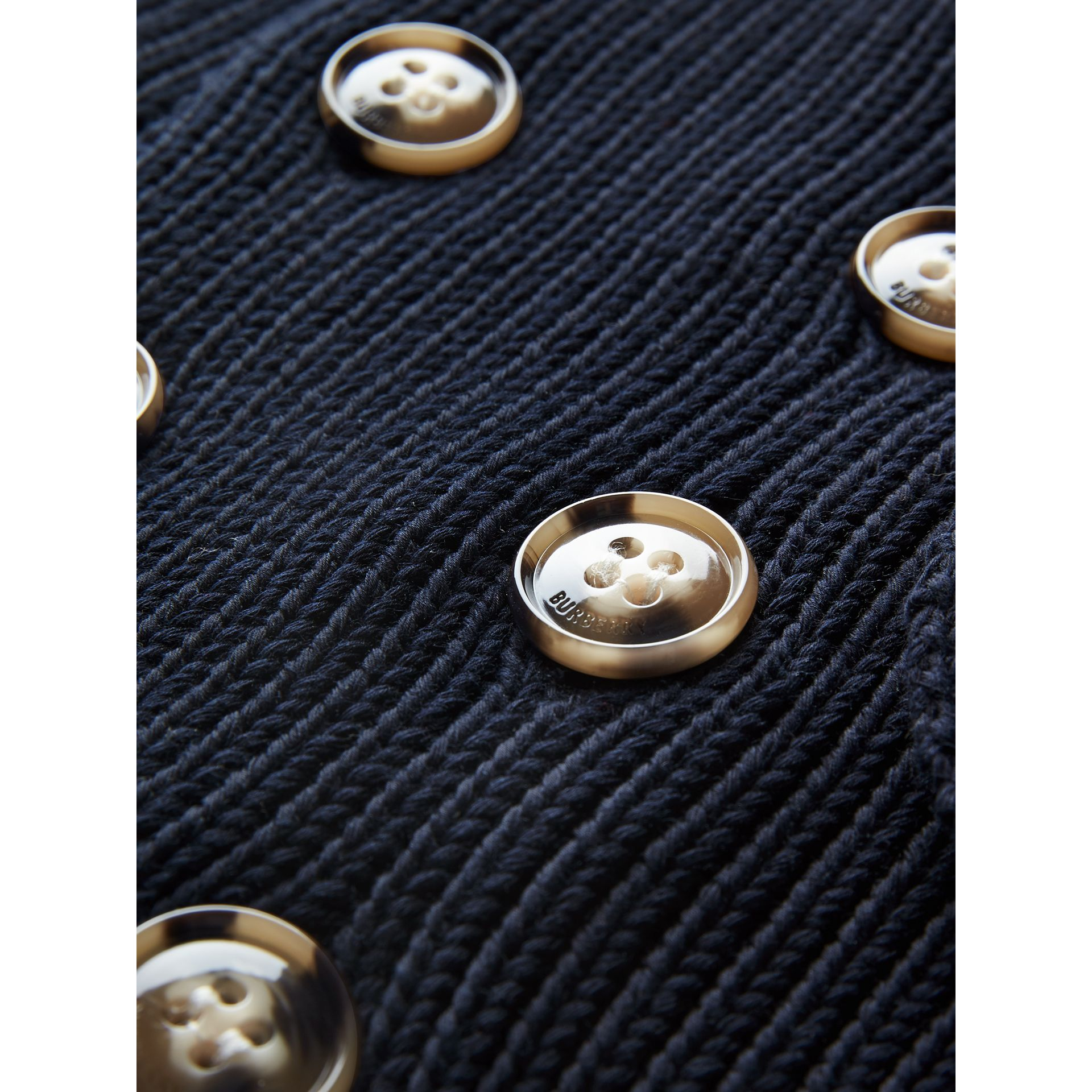 Cotton Knit Pea Coat Cardigan in Navy | Burberry - gallery image 1