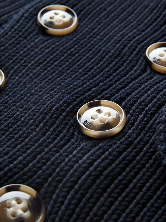 Cotton Knit Pea Coat Cardigan in Navy | Burberry United Kingdom - cell image 1