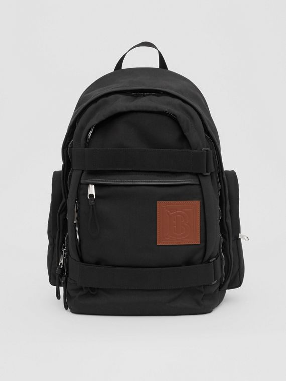 Large Monogram Motif Appliqué Nylon Nevis Backpack in Black