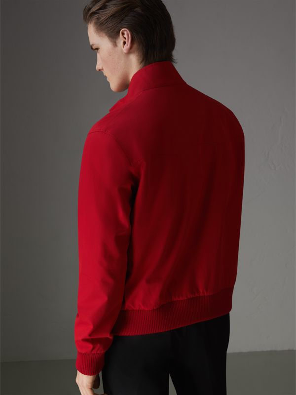 Slim Fit Tropical Gabardine Harrington Jacket in Bright Red - Men | Burberry - cell image 2