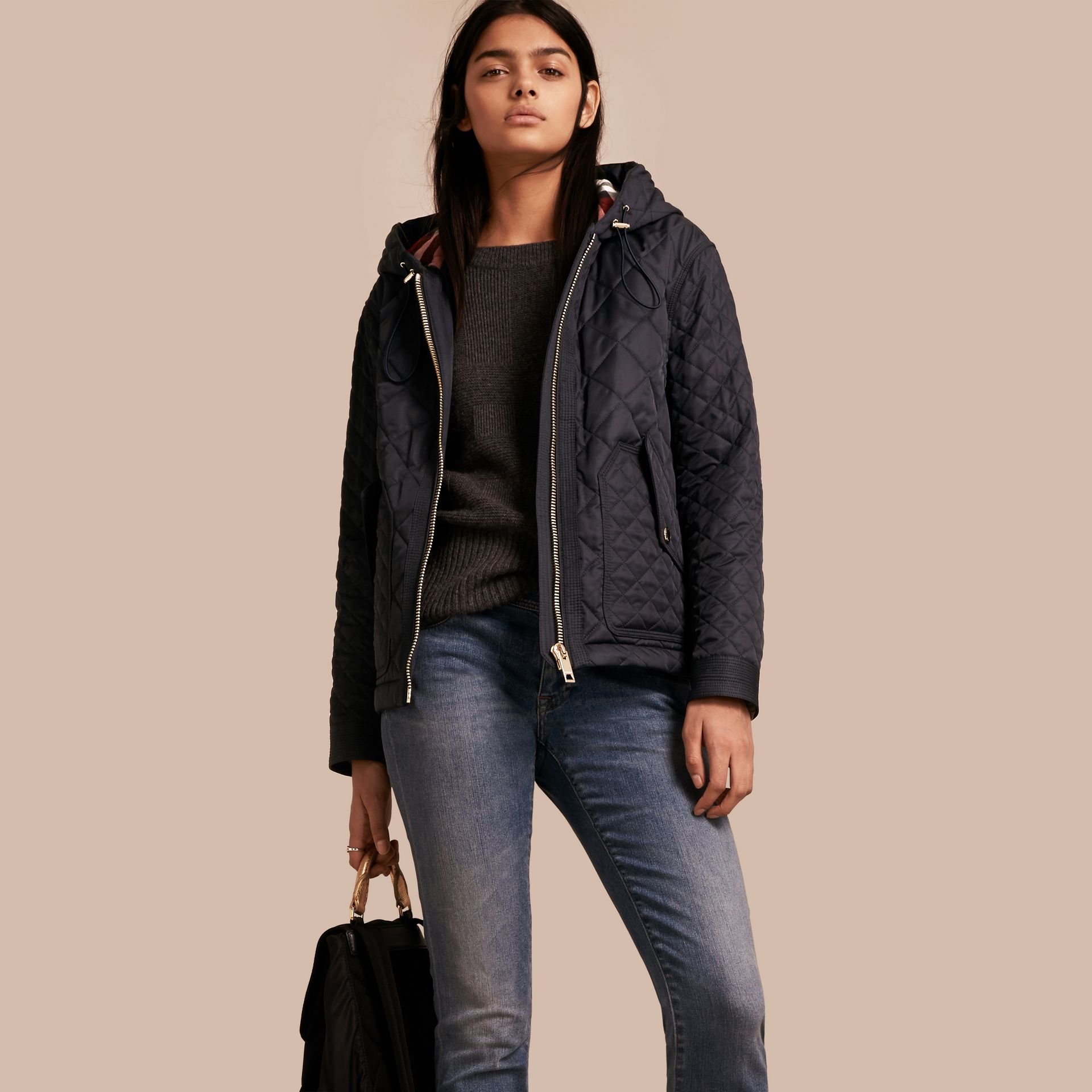 Diamond Quilted Hooded Jacket with Check Lining Navy - gallery image 1