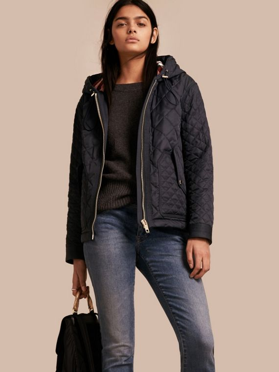 Diamond Quilted Hooded Jacket with Check Lining Navy