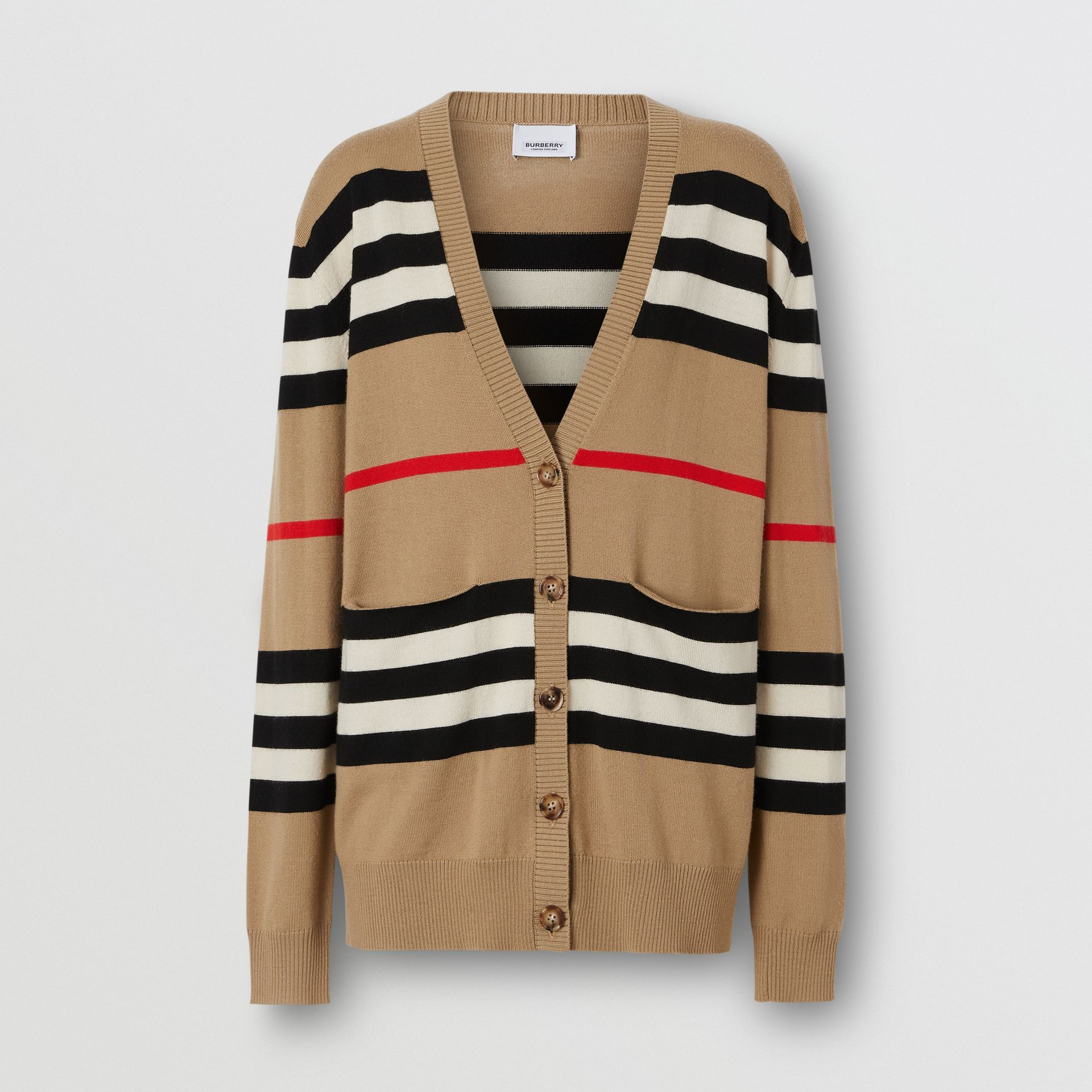 Icon Stripe Merino Wool Cardigan in Archive Beige - Women | Burberry - gallery image 3