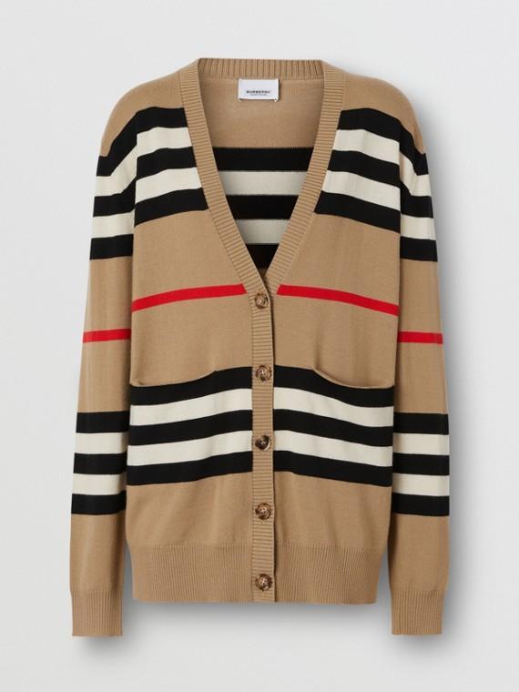 Icon Stripe Merino Wool Cardigan in Archive Beige