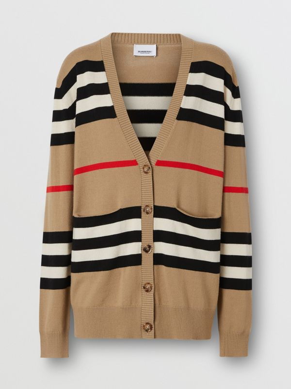 Icon Stripe Merino Wool Cardigan in Archive Beige - Women | Burberry Canada - cell image 3