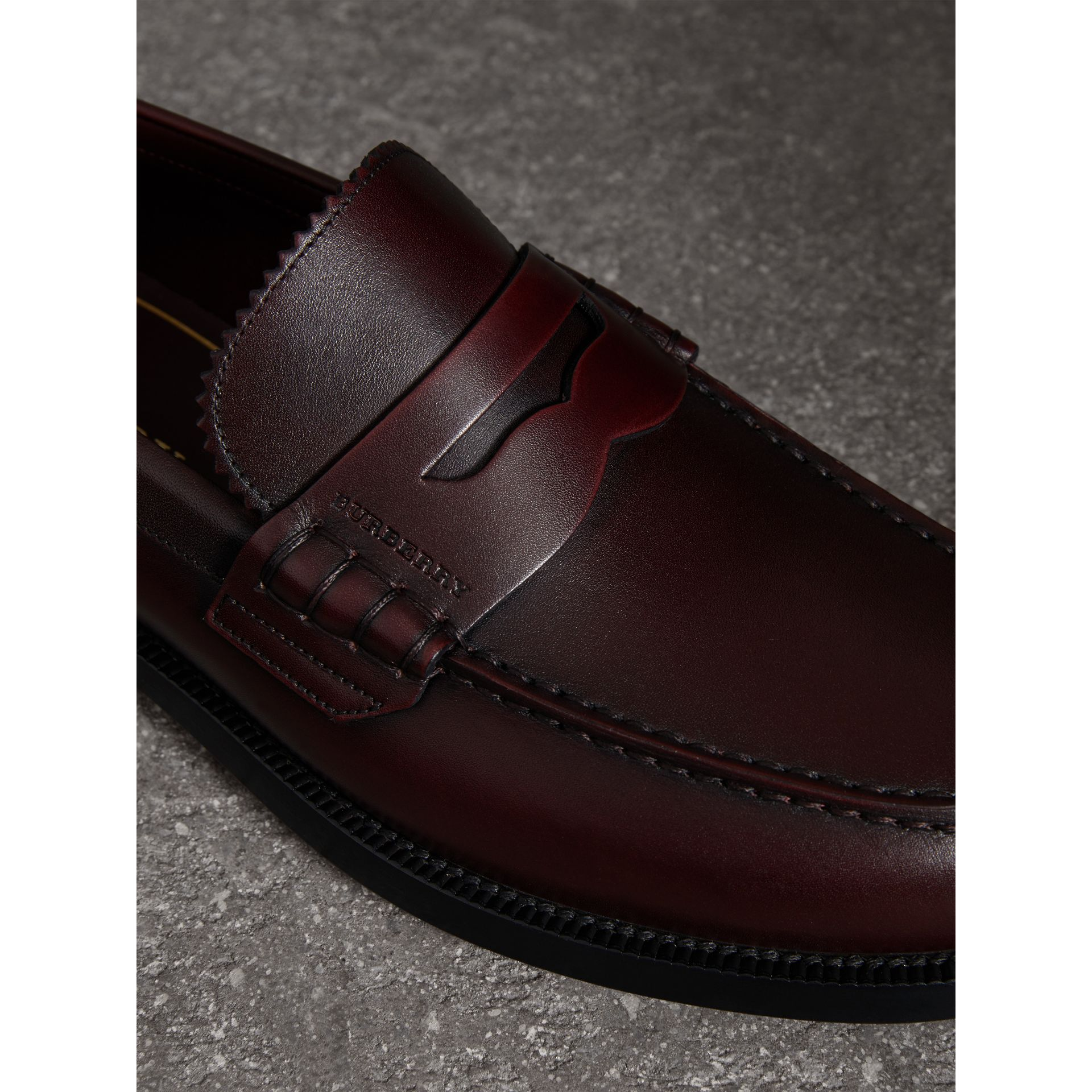 Leather Penny Loafers in Bordeaux - Men | Burberry Singapore - gallery image 1