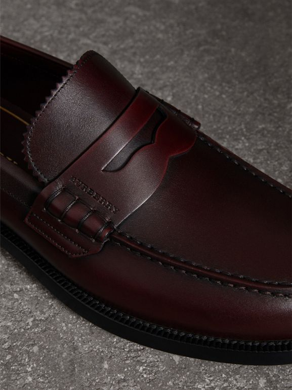 Leather Penny Loafers in Bordeaux - Men | Burberry Singapore - cell image 1