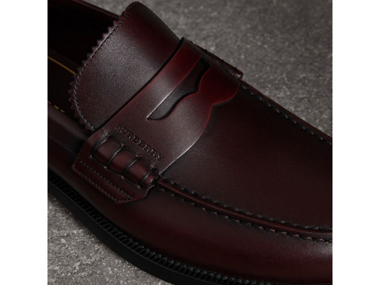 Leather Penny Loafers in Bordeaux - Men | Burberry - cell image 1
