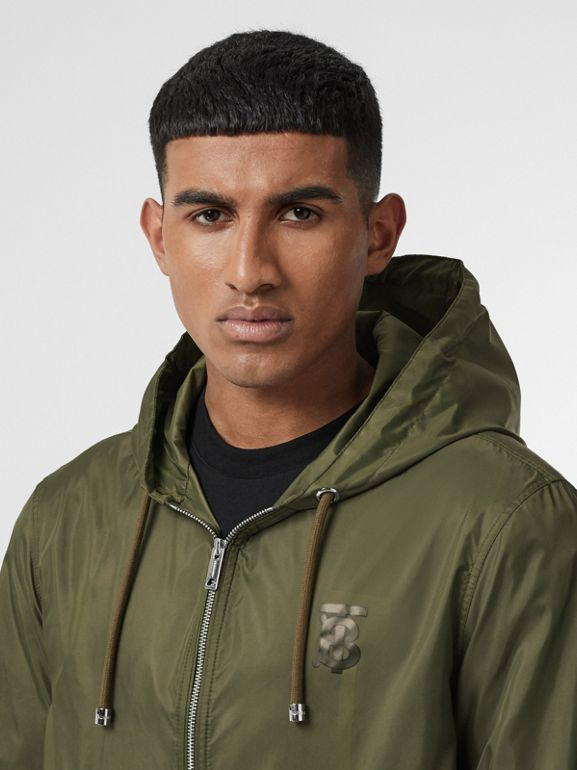 Monogram Motif Lightweight Hooded Jacket in Light Olive - Men | Burberry - cell image 1