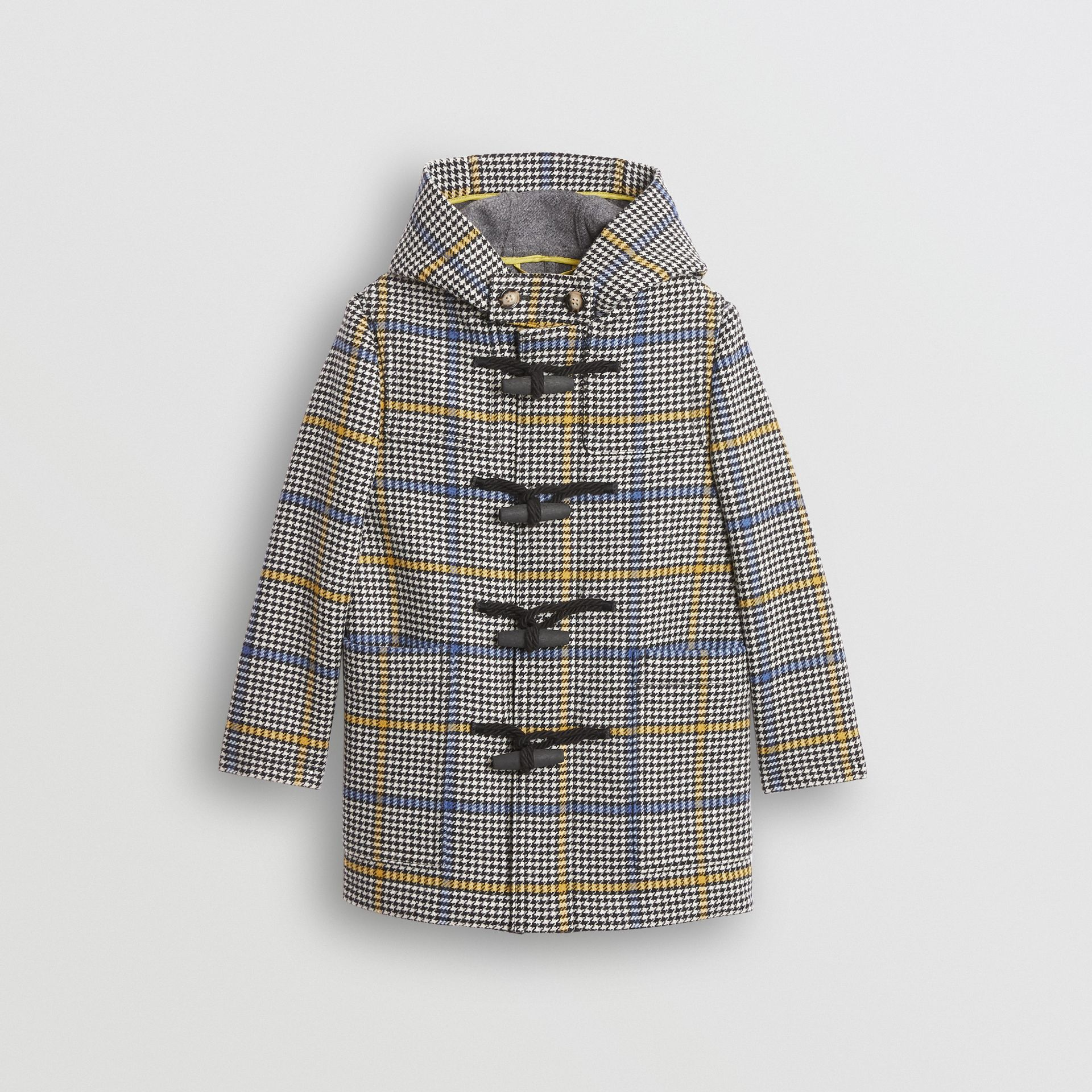 Houndstooth Check Wool Cashmere Duffle Coat in Parchment | Burberry United Kingdom - gallery image 0