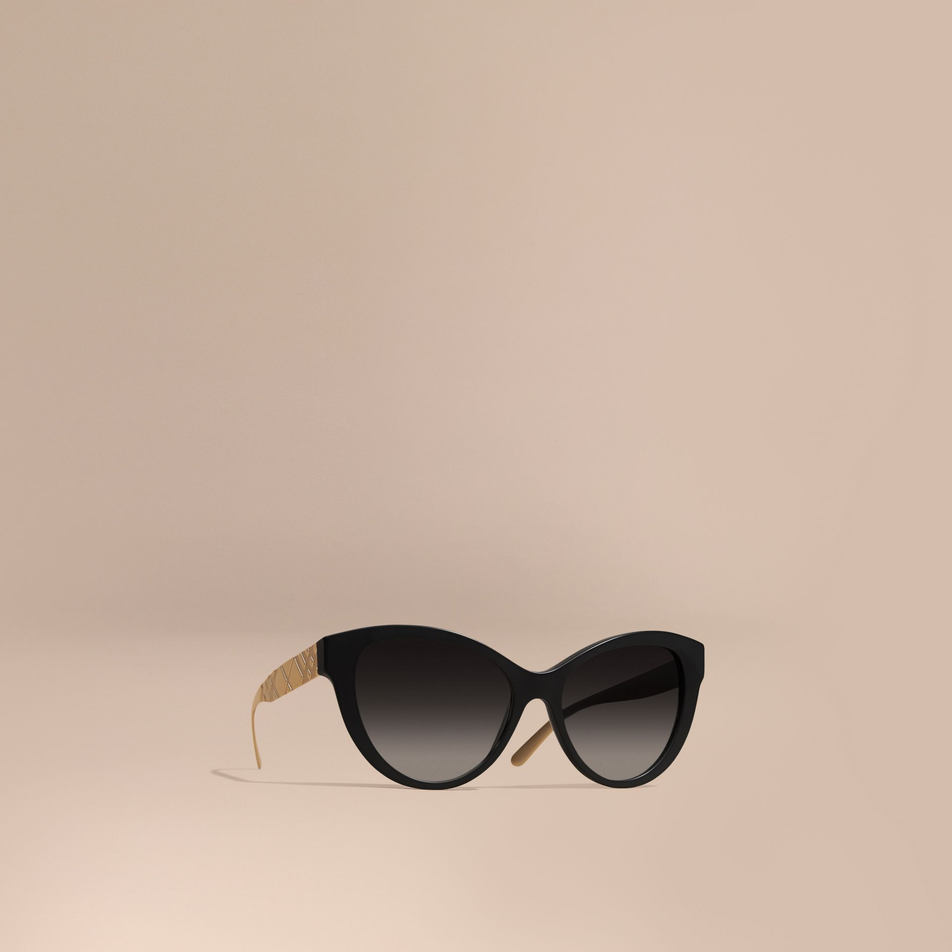 Black 3D Check Cat-eye Polarised Sunglasses - gallery image 1