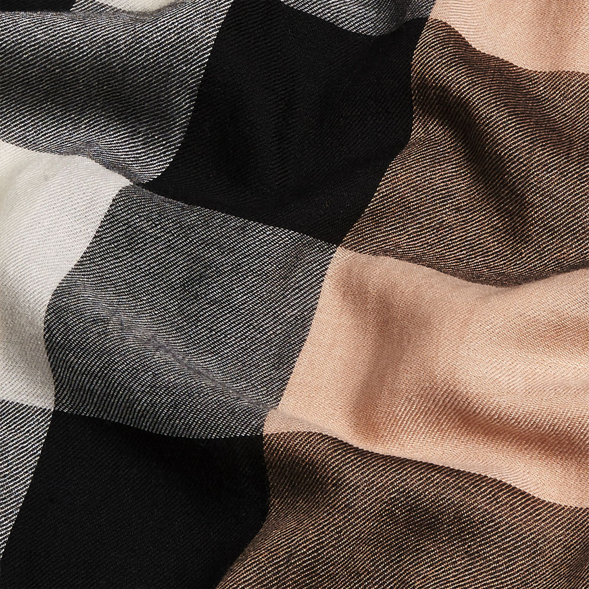 The Lightweight Cashmere Scarf in Check in Camel - gallery image 5