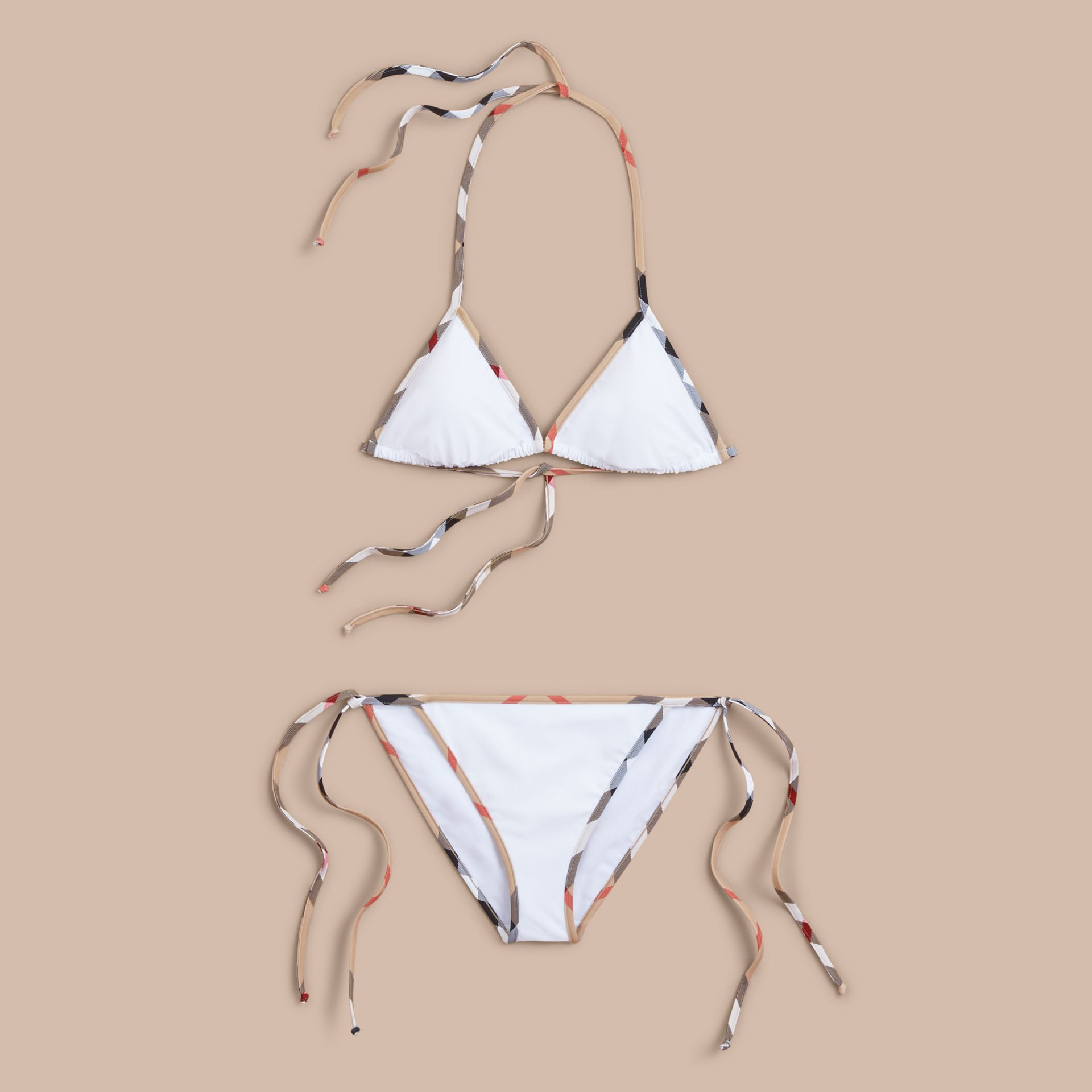 Check Trim Triangle Bikini in White - Women | Burberry - gallery image 1