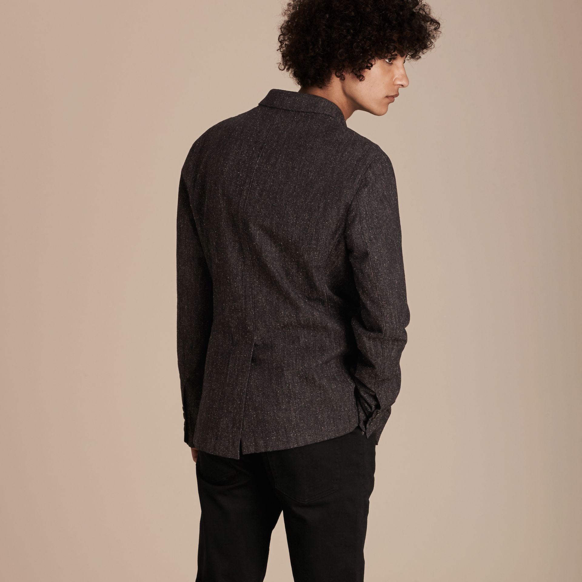 Charcoal blue Cotton Silk Tweed Tailored Jacket - gallery image 3