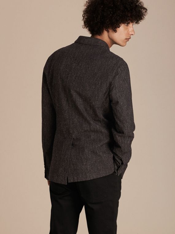 Charcoal blue Cotton Silk Tweed Tailored Jacket - cell image 2