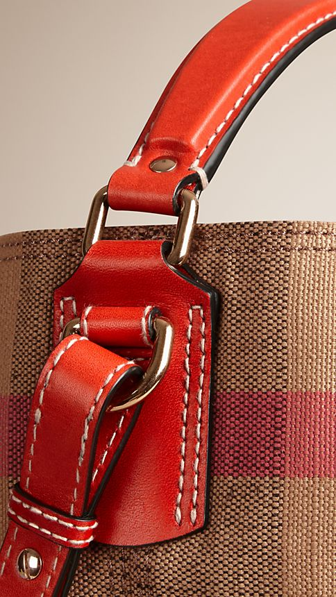 Cadmium red The Medium Ashby in Canvas Check and Leather Cadmium Red - Image 6