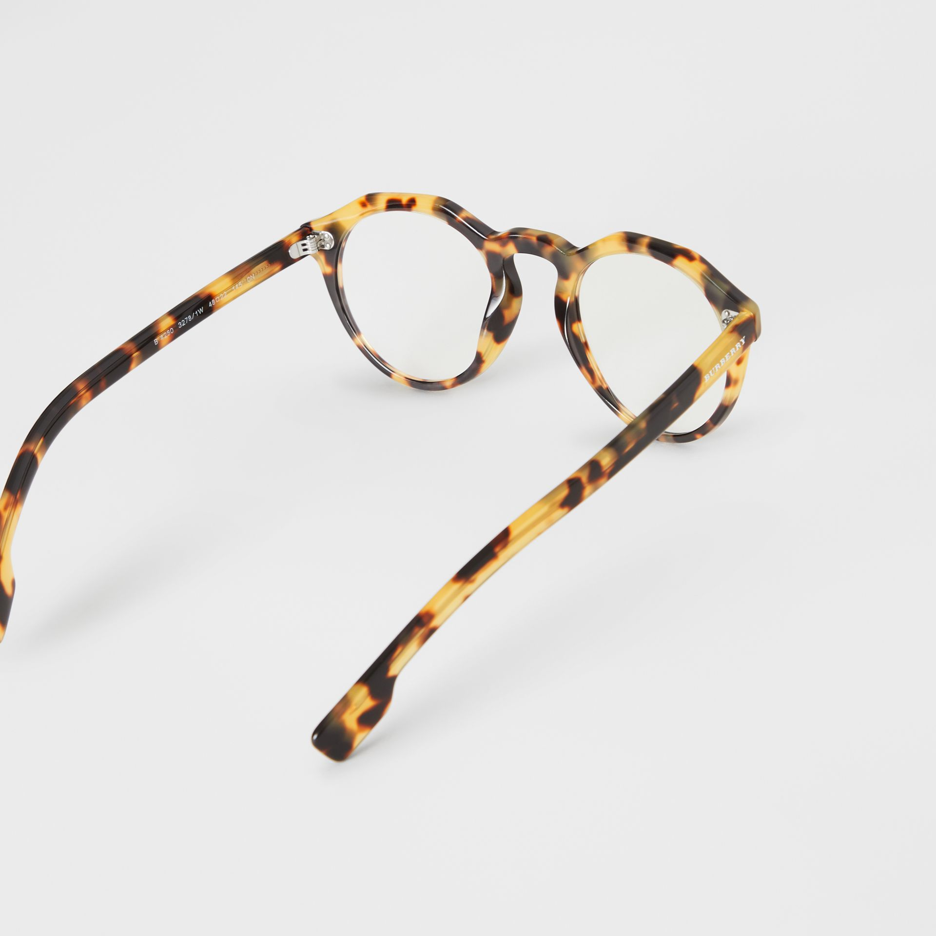 Keyhole Round Optical Frames in Tortoise Shell - Men | Burberry Australia - gallery image 4