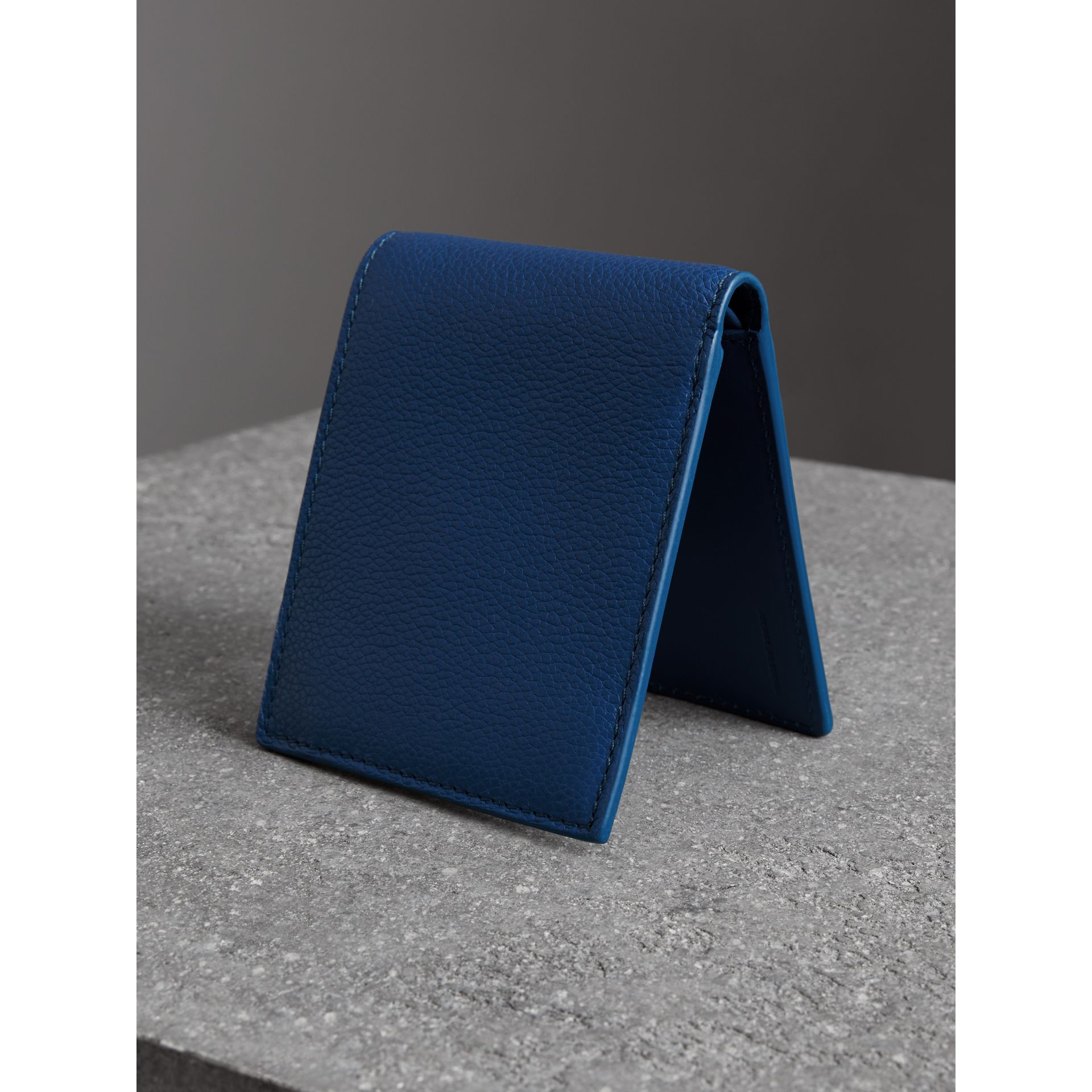 Grainy Leather International Bifold Coin Wallet in Bright Ultramarine - Men | Burberry - gallery image 2