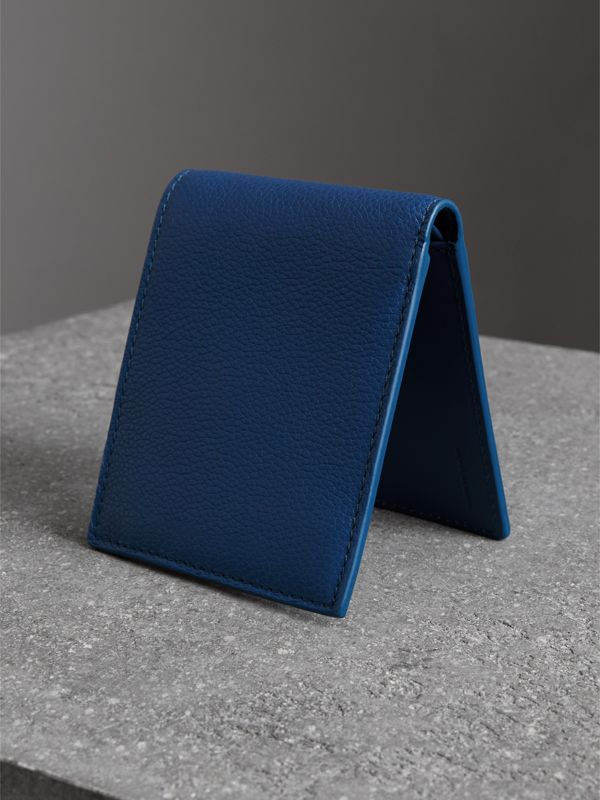 Grainy Leather International Bifold Coin Wallet in Bright Ultramarine - Men | Burberry - cell image 2