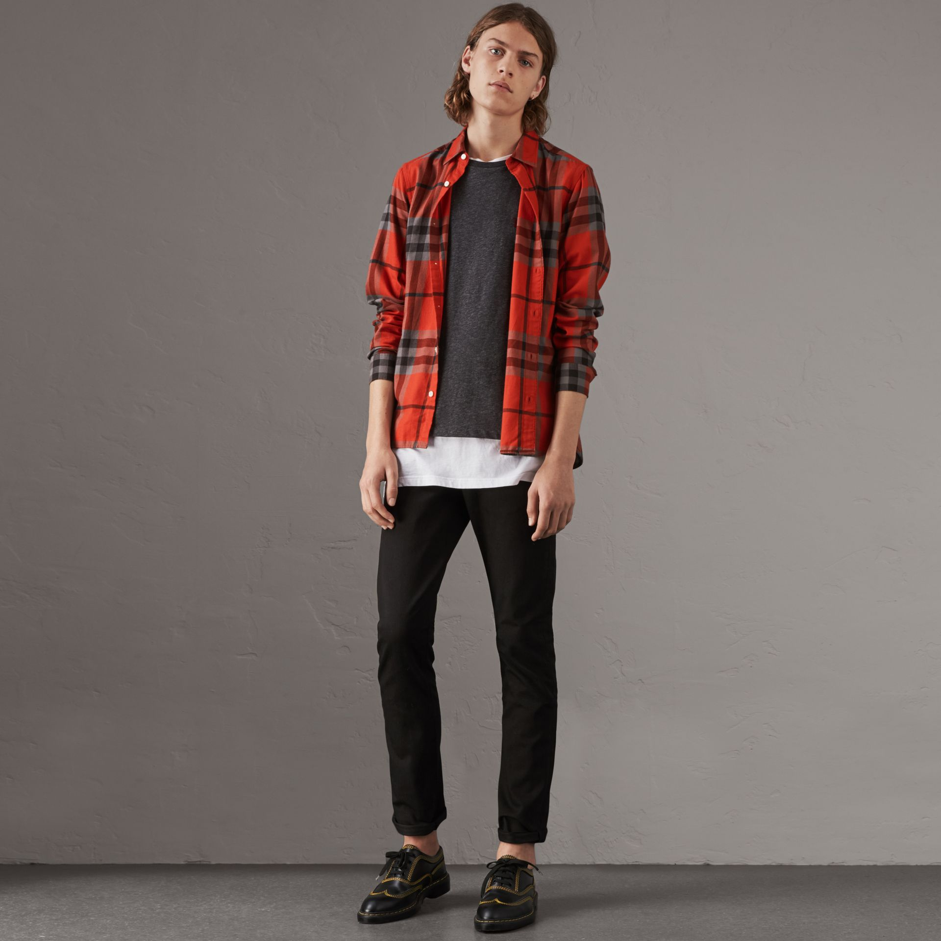 Check Cotton Flannel Shirt in Bright Red - Men | Burberry - gallery image 1