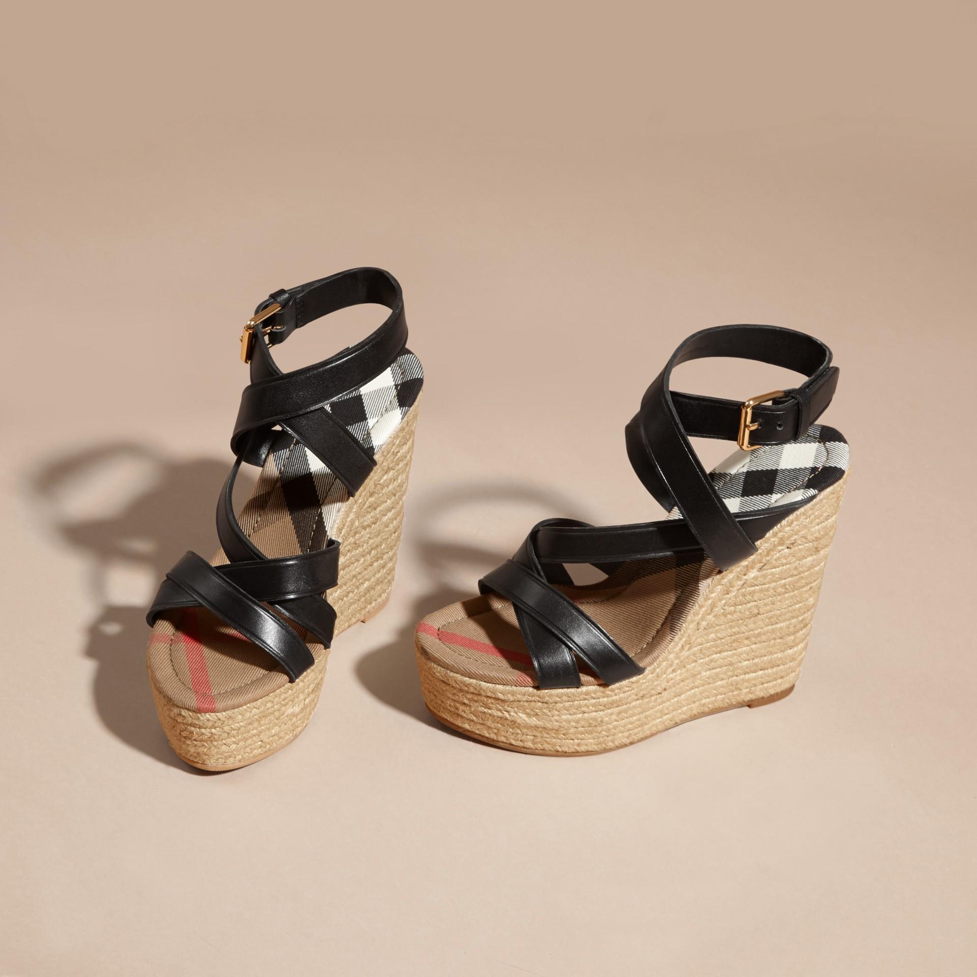 Leather Platform Espadrille Wedge Sandals - gallery image 4