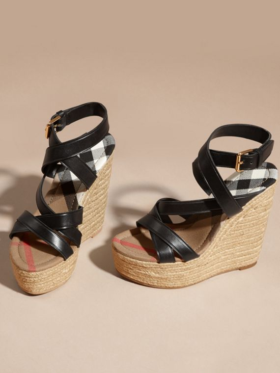 Leather Platform Espadrille Wedge Sandals - cell image 3