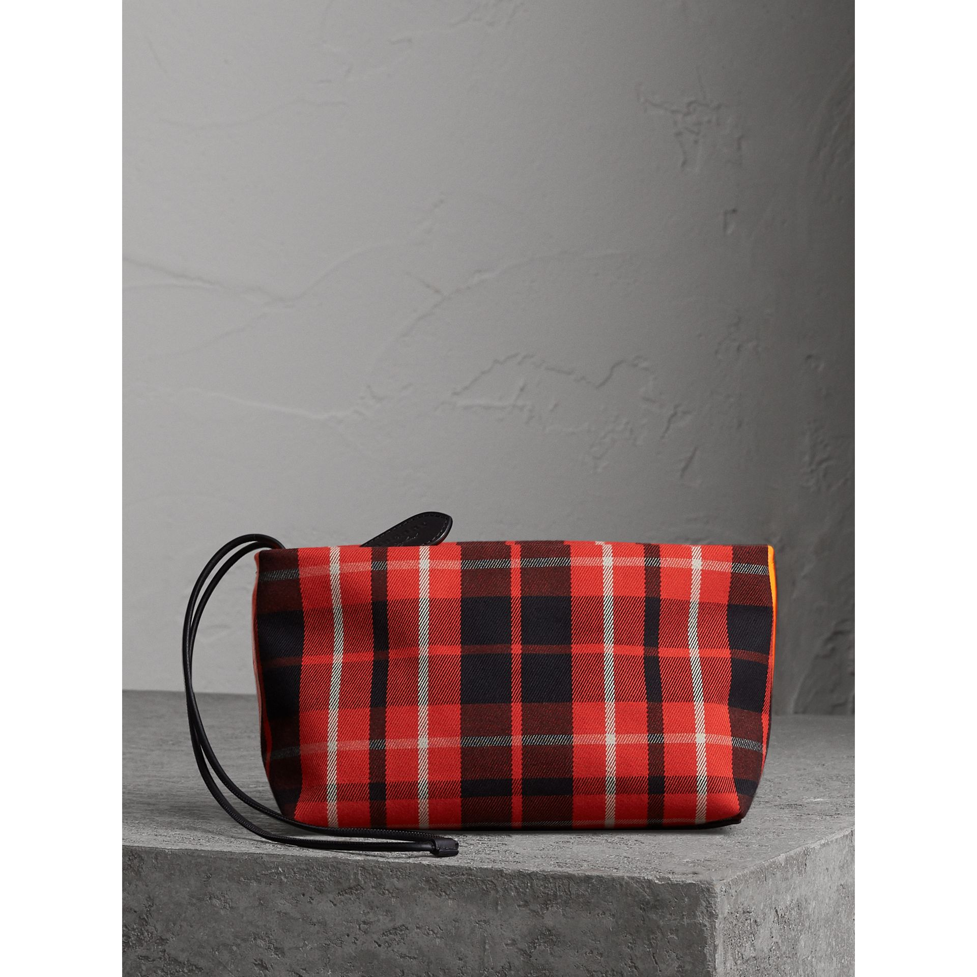 Tartan Cotton Clutch in Vibrant Red/flax Yellow | Burberry Australia - gallery image 8
