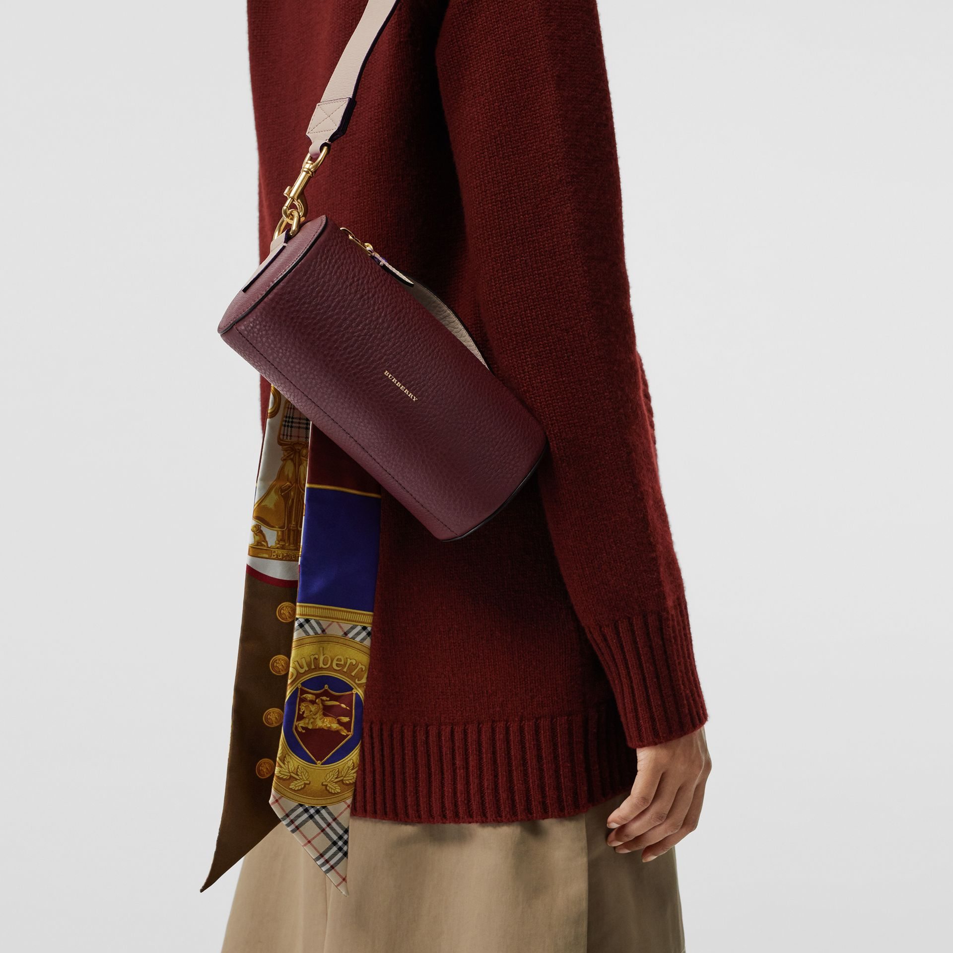 The Leather Barrel Bag in Deep Claret/limestone - Women | Burberry - gallery image 3