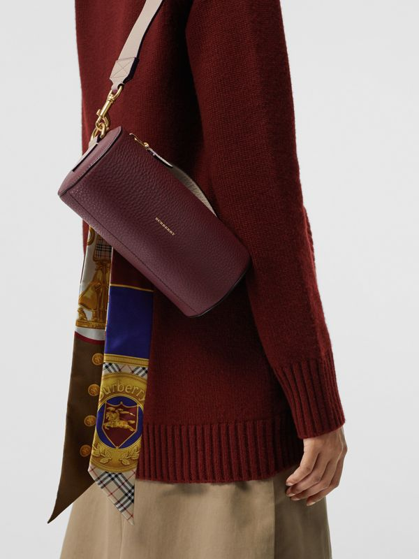 The Leather Barrel Bag in Deep Claret/limestone - Women | Burberry - cell image 3