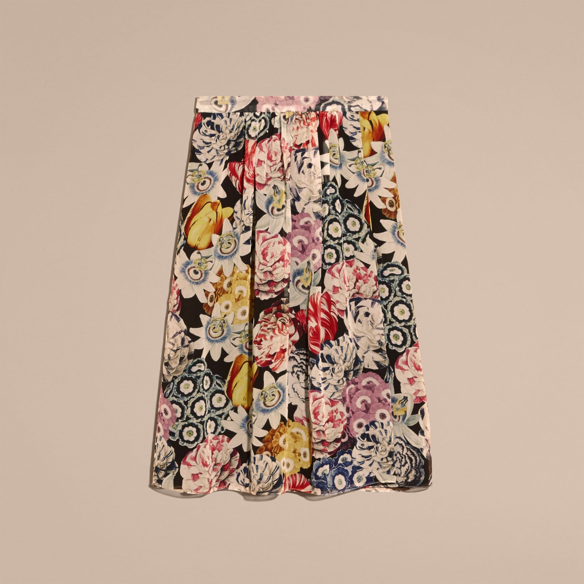 Black Gathered Floral Print Silk Skirt - gallery image 4