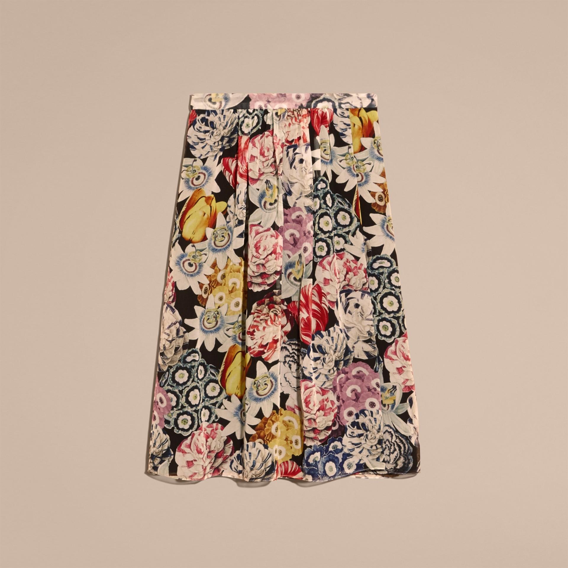 Schwarz Geraffter Seidenrock mit floralem Muster - Galerie-Bild 4