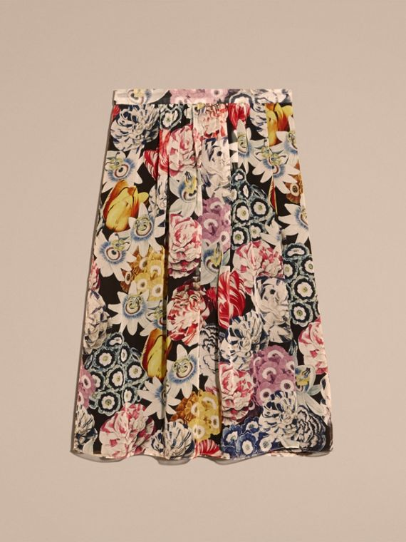 Black Gathered Floral Print Silk Skirt - cell image 3