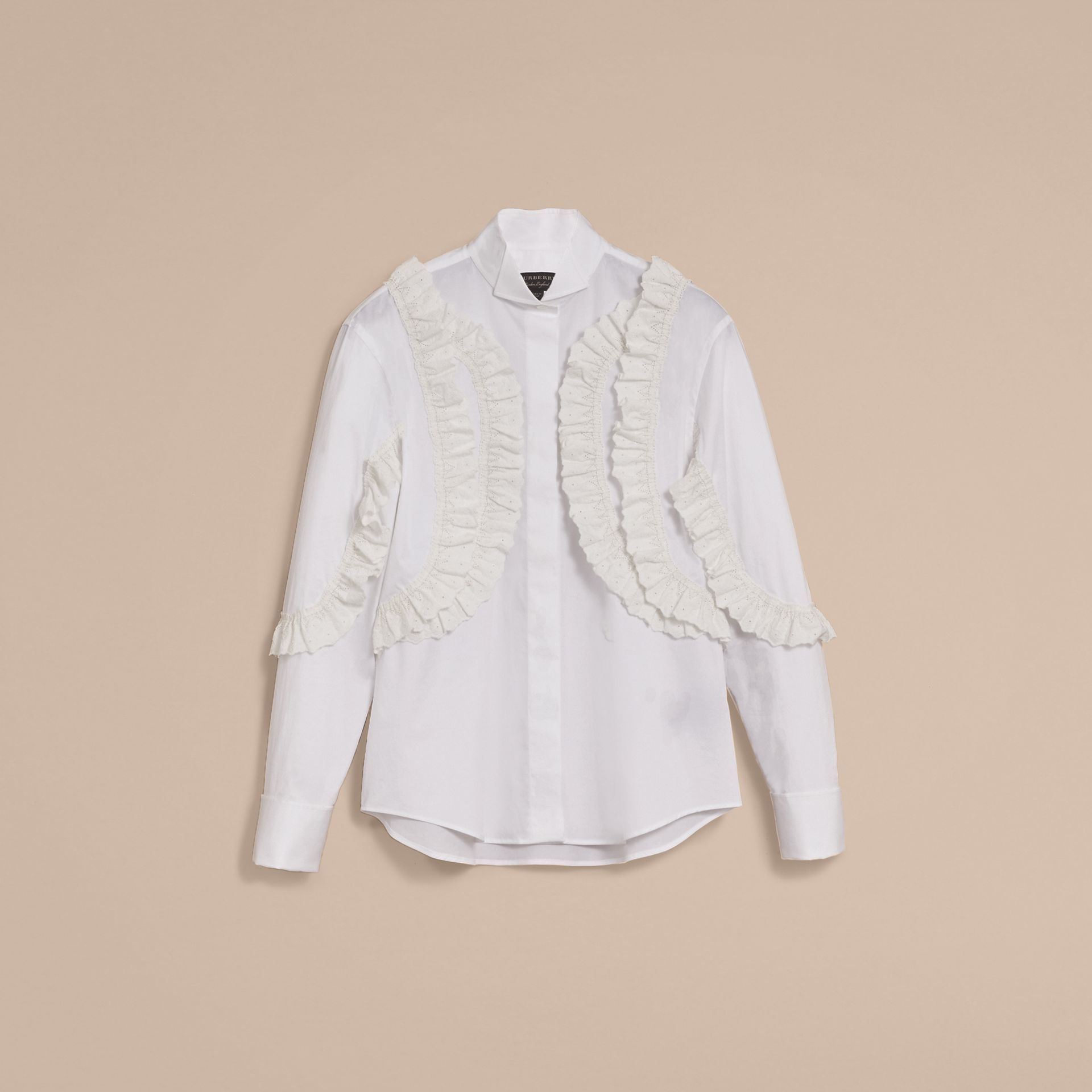 Broderie Anglaise Ruffle Stretch Cotton Shirt - Women | Burberry - gallery image 4