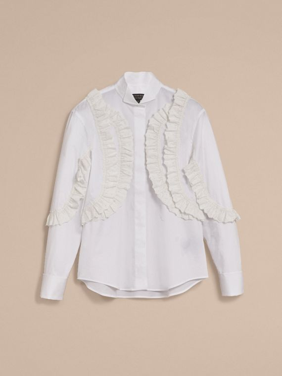 Broderie Anglaise Ruffle Stretch Cotton Shirt - Women | Burberry - cell image 3