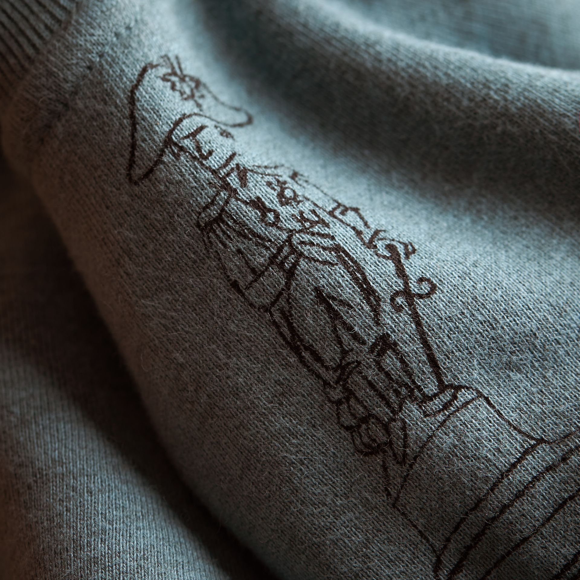 London Icons Print Cotton Zip-front Sweatshirt in Dusty Blue - Children | Burberry - gallery image 2