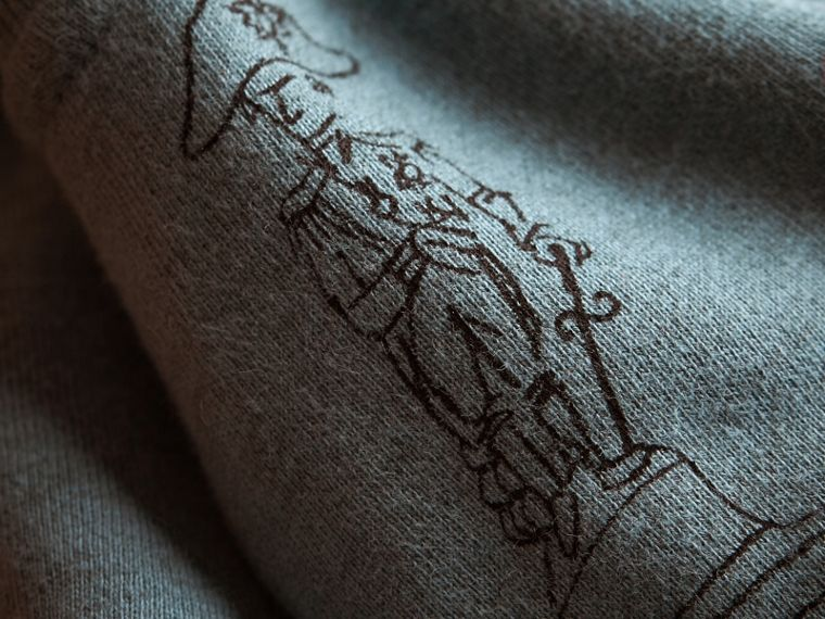 London Icons Print Cotton Zip-front Sweatshirt in Dusty Blue - Children | Burberry Singapore - cell image 1
