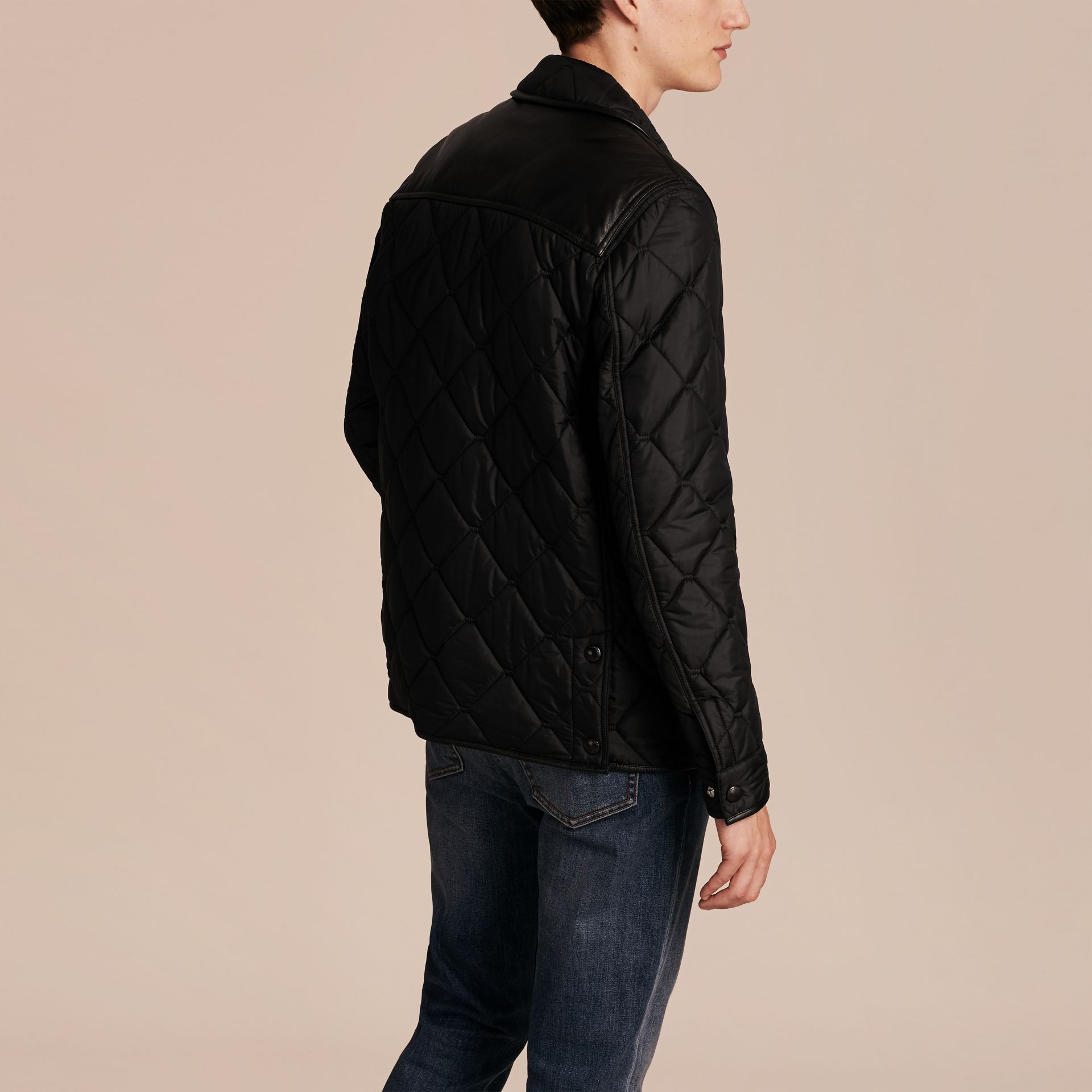 Black Lambskin Detail Field Jacket - gallery image 3