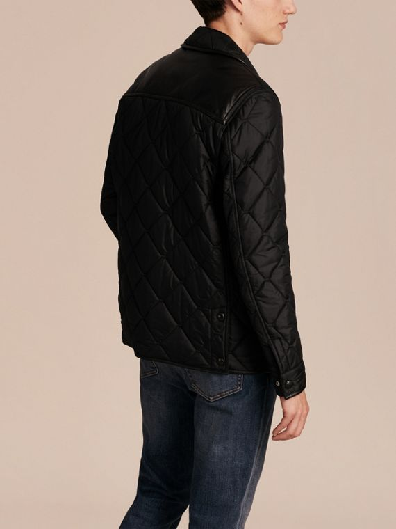 Black Lambskin Detail Field Jacket - cell image 2
