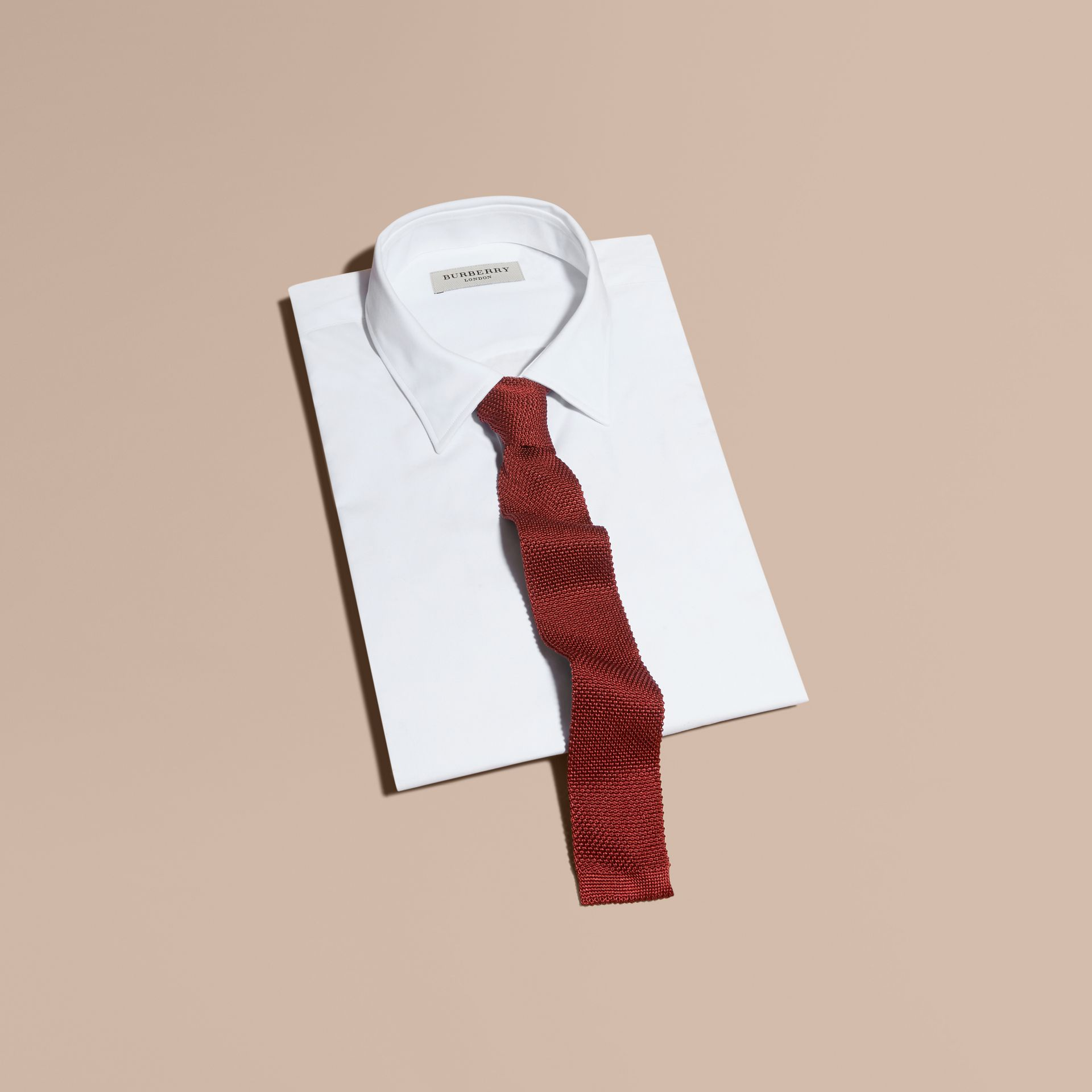 Slim Cut Knitted Silk Tie in Deep Red - Men | Burberry - gallery image 4