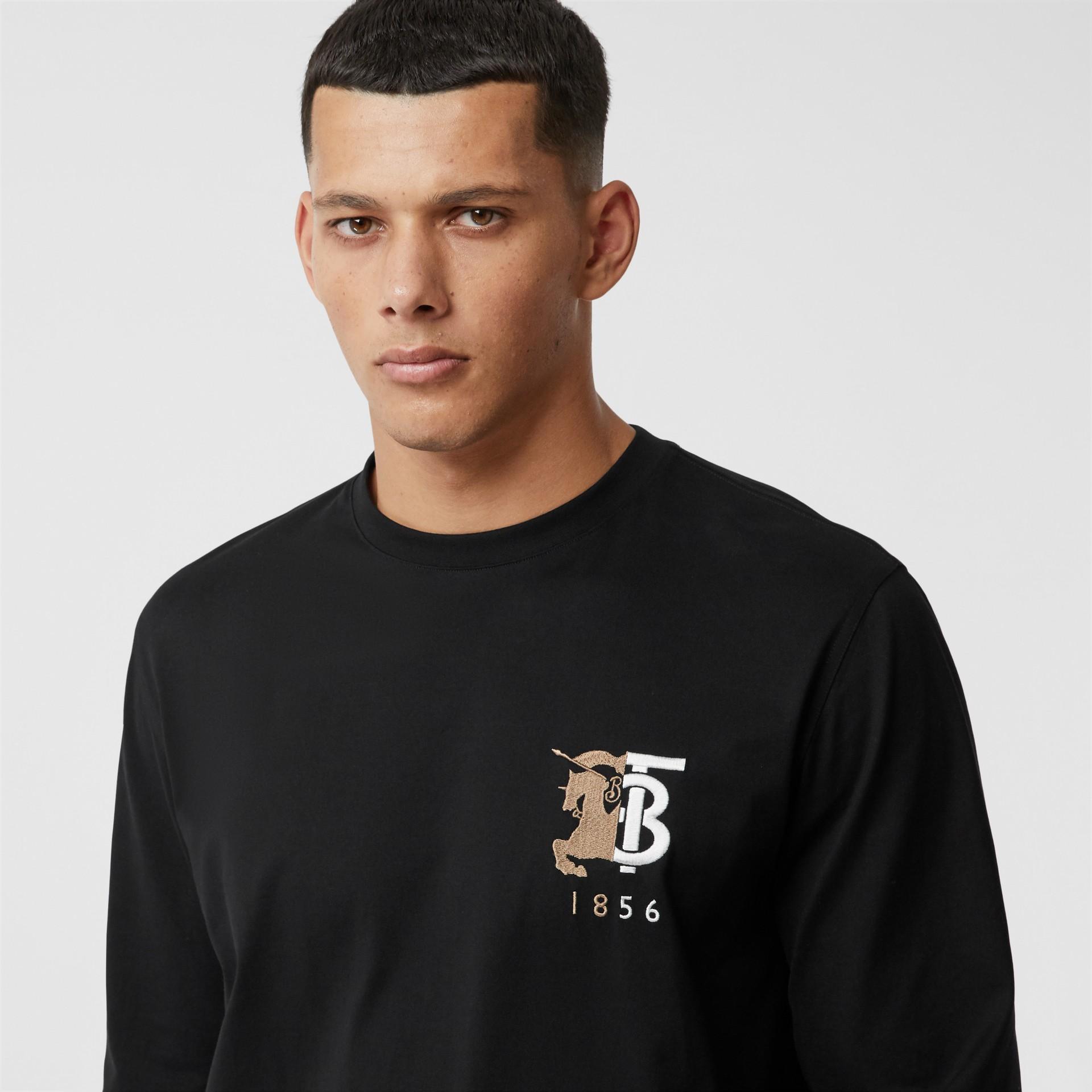 Haut à manches longues en coton avec logo (Noir) - Homme | Burberry - photo de la galerie 1
