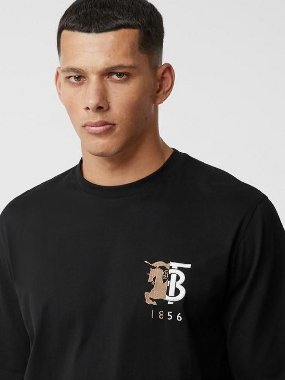 Haut à manches longues en coton avec logo (Noir) - Homme | Burberry - cell image 1