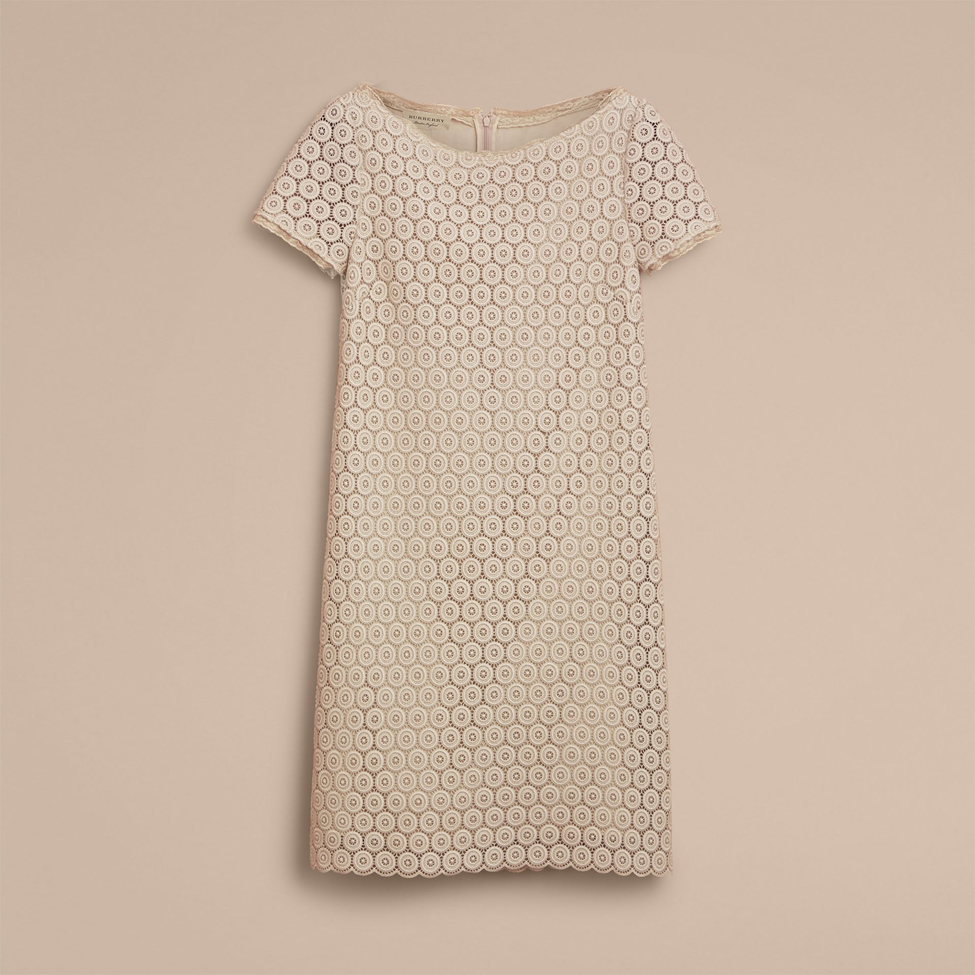Short-sleeve Geometric Lace Dress in Stone - Women | Burberry - gallery image 4