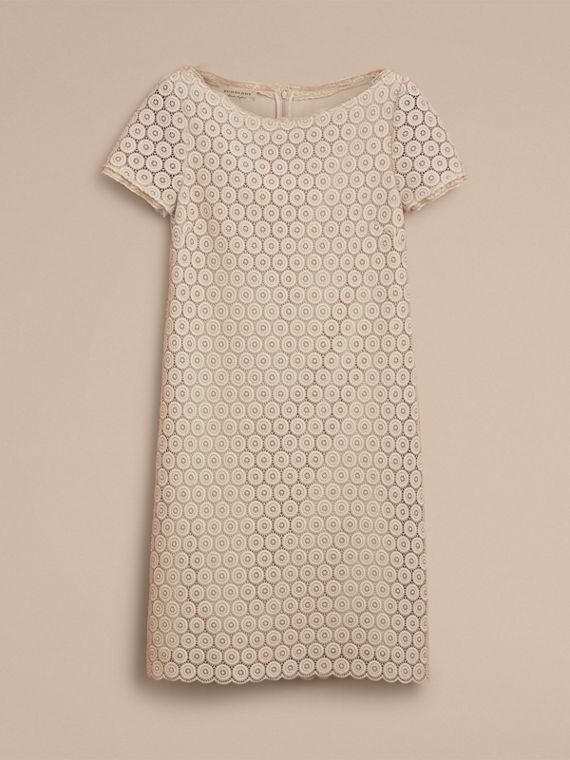 Short-sleeve Geometric Lace Dress in Stone - Women | Burberry - cell image 3